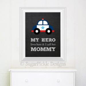 Police Themed Baby Gifts - Hero Nursery Print