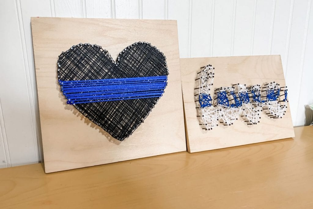 thin blue line string art finished