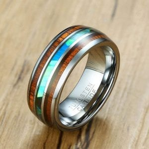 Gorgeous thin blue line ring with abalone
